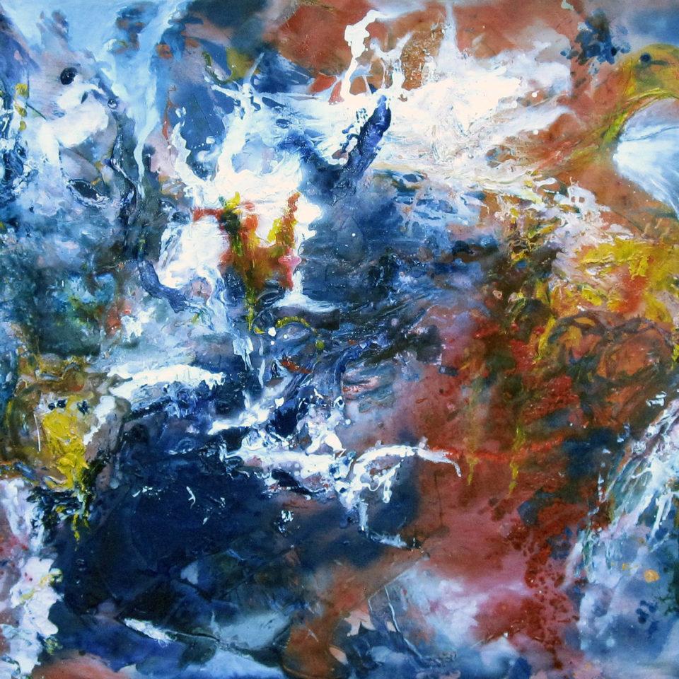 Über blauem Grund, Mischtechnik, 140 x 300 cm