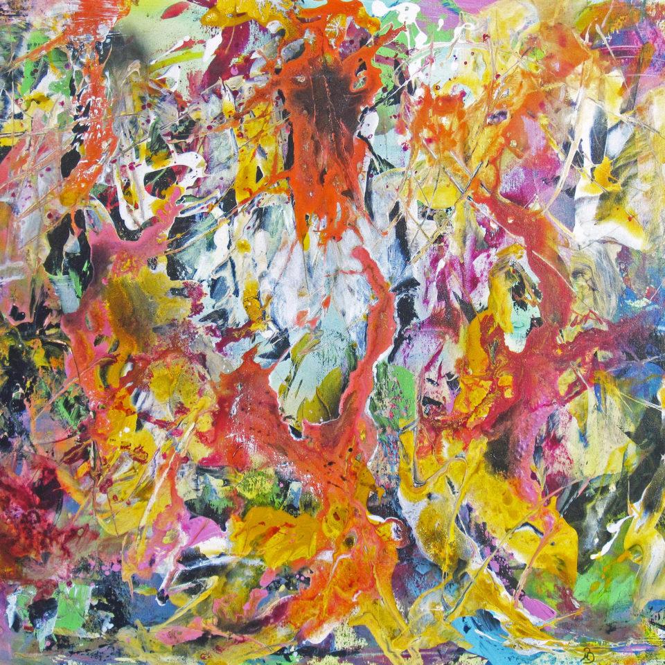Farbentanz, Mischtechnik, 100 x 120 cm