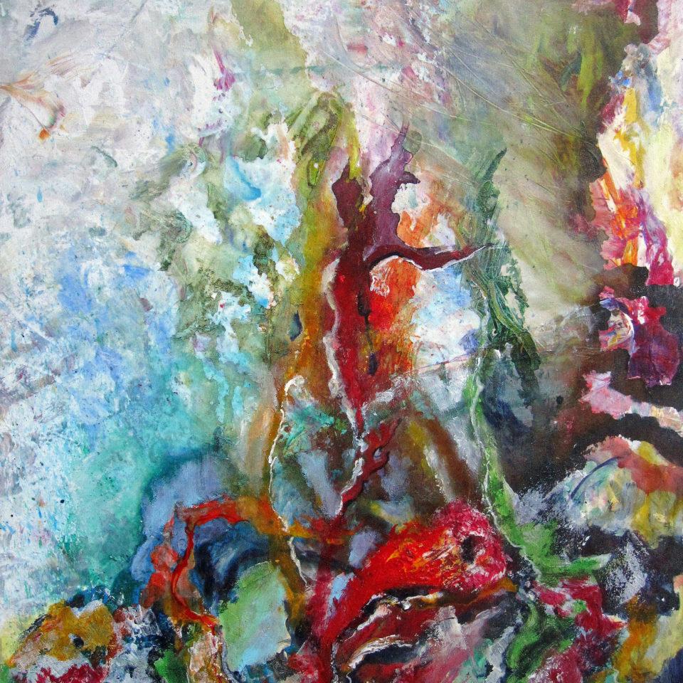 Hommage an Bernard Schultze, Mischtechnik, 100 x 80 cm