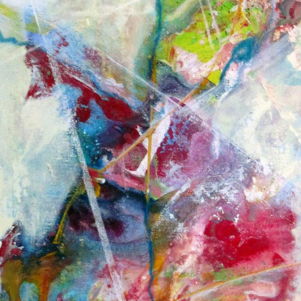 Komposition mit Karmin und Türkis I, Mischtechnik, 150 x 50 cm