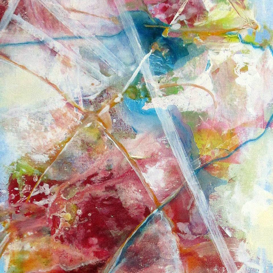 Komposition mit Karmin und Türkis II, Mischtechnik, 150 x 50 cm