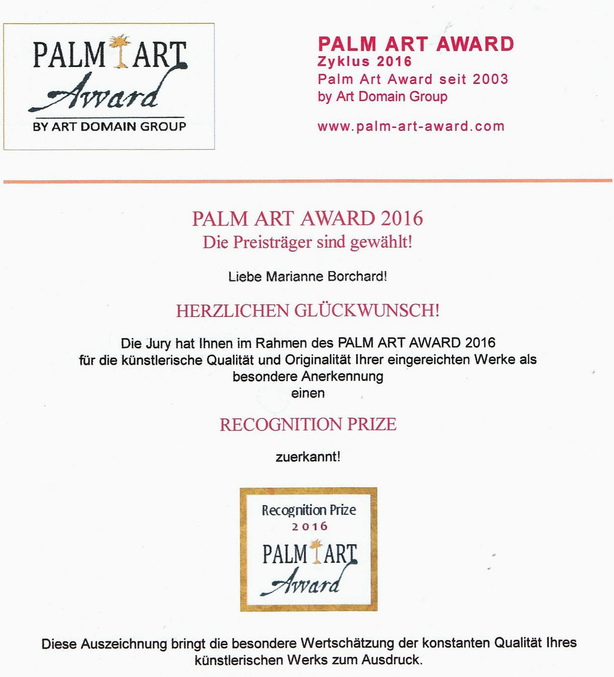 Recognition Prize Palm Art Award