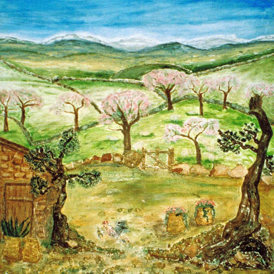 Romantisches Mallorca zur Zeit der Mandelblüte, Collage,Pigmente
