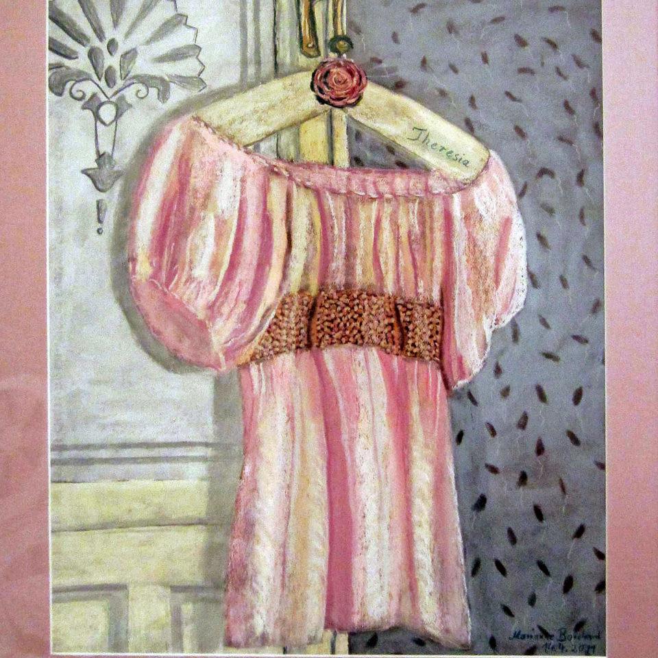 Rosa Bluse für Theresia, Pastellkreide