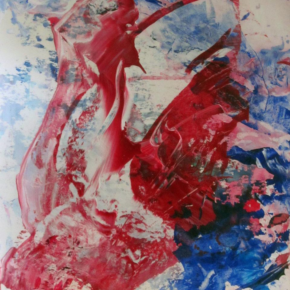 Rot, Weiß, Blau 2, Acryl, 40 x 30 cm