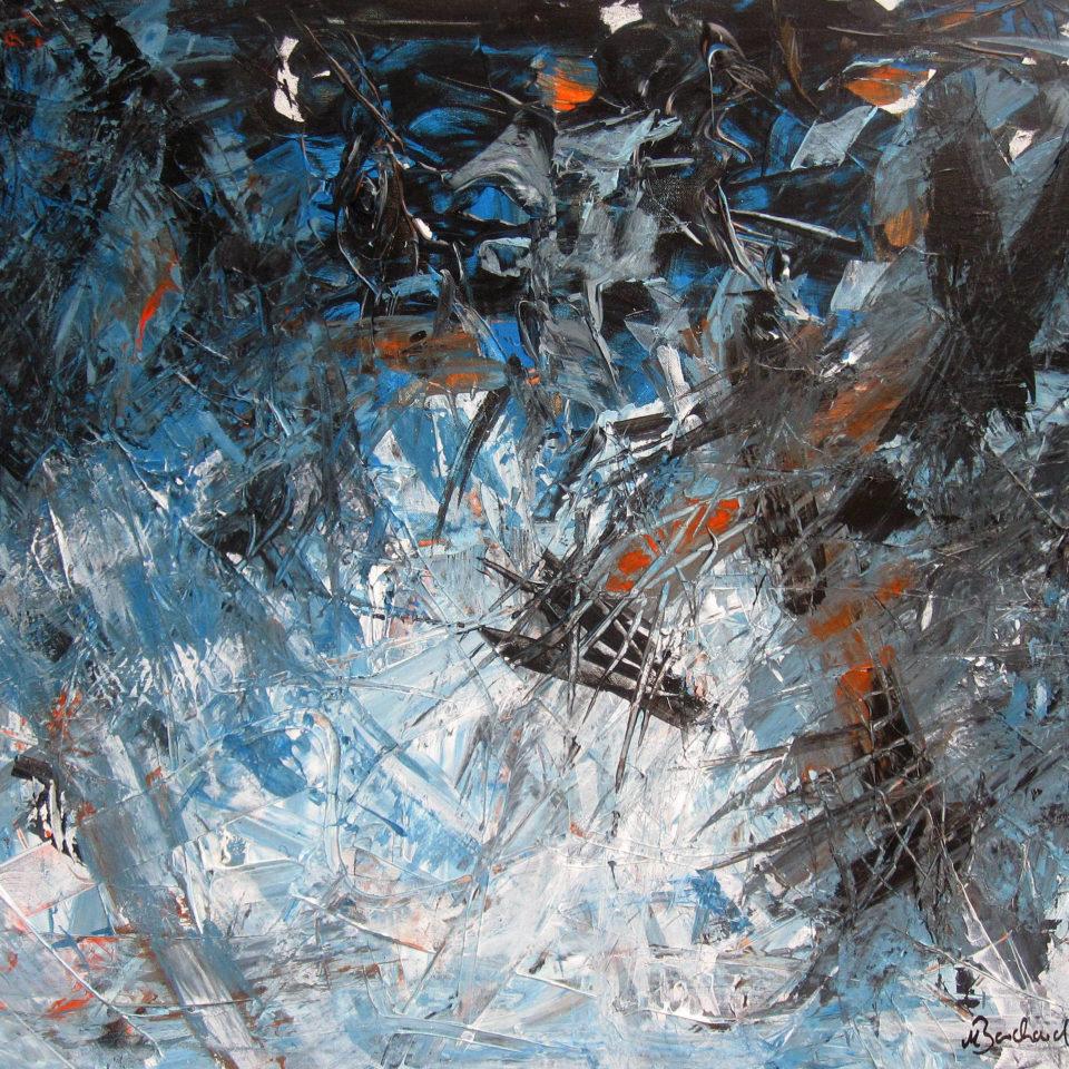 Schwebendes Schwarz, Acryl, 80 x 100 cm