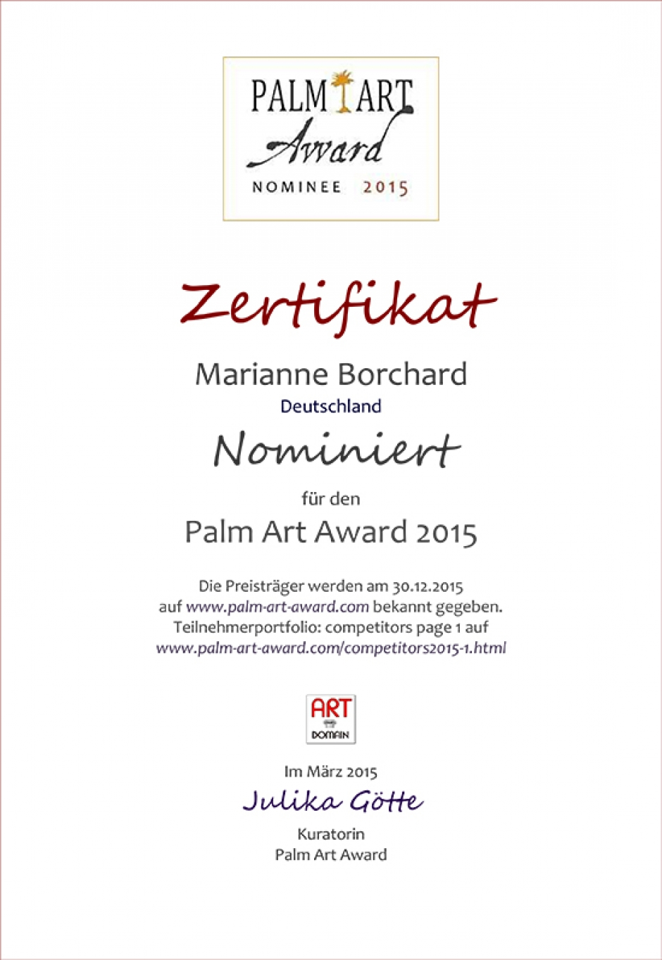 PALM ART AWARD 2015